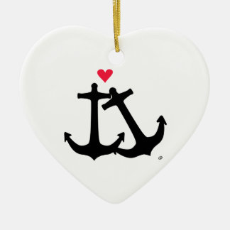 Anchors In Love Double-Sided Heart Ceramic Christmas Ornament