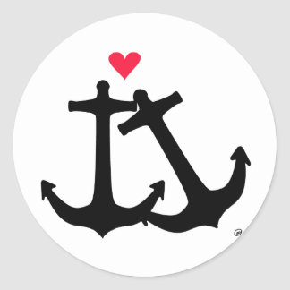 Anchors In Love Classic Round Sticker