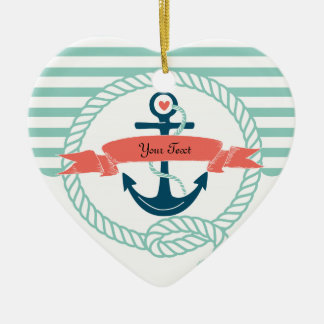 Anchors Nautical - 2 sided Ceramic Ornament