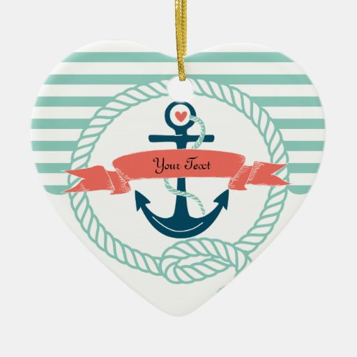 Anchors Nautical - 2 sided Double-sided Heart Ceramic Christmas Ornament
