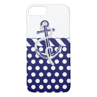 Anchors, Nautical Blue and Silver iPhone 7 Case