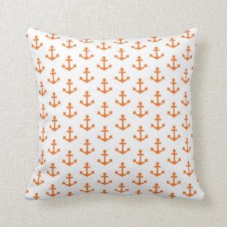 Anchors Nautical Bright Orange White Sailor Throw Pillow