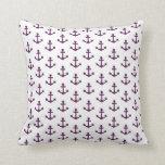 Anchors Nautical Lavender Purple White Sailor Pillow