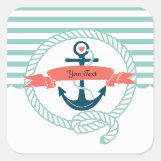 Anchors Nautical Square Sticker