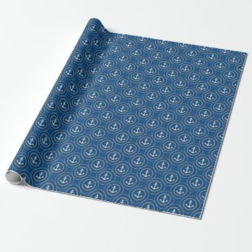 DifferentStudios Anchors Nautical Vibrant Navy Blue Sailor Circles Wrapping Paper
