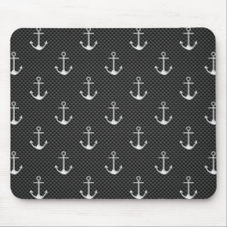 Anchors on Black Carbon Fiber Pattern Mouse Pad
