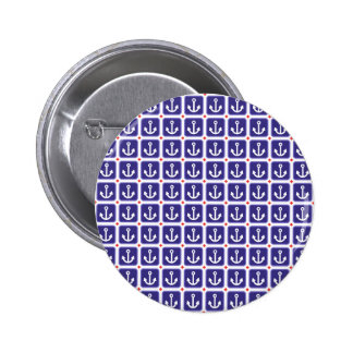 Anchors on Nautical Blue 2 Inch Round Button