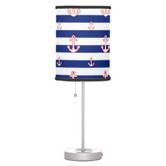 Anchors on Nautical Stripes Pattern Table Lamp
