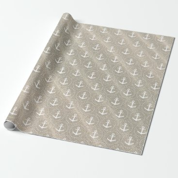 Beach Themed Anchors on sandy background wrapping paper