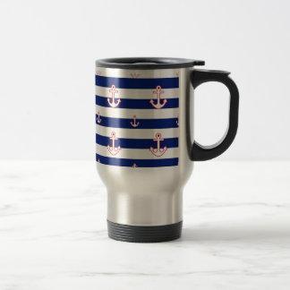 Anchors on Stripes Nautical Decor 15 Oz Stainless Steel Travel Mug