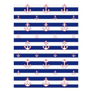 Anchors on Stripes Nautical Decor Letterhead