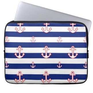 Anchors on Stripes Nautical Pattern Computer Sleeve