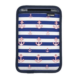 Anchors on Stripes Nautical Pattern iPad Mini Sleeve