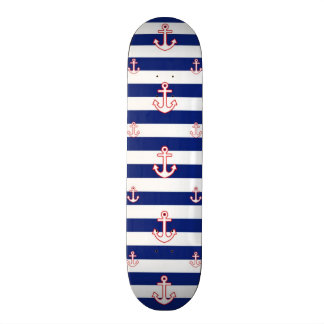 Anchors on Stripes Nautical Pattern Skateboard