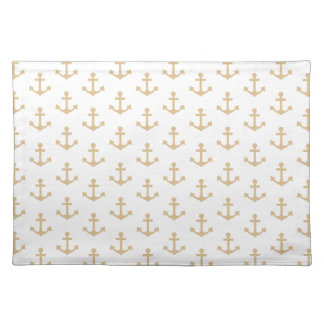 Anchors Pattern Nautical Beige Ivory White Sailor Cloth Place Mat