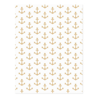 Anchors Pattern Nautical Beige Ivory White Sailor Postcard