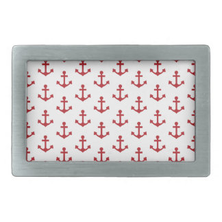 Anchors Pattern Nautical Burgundy Red White Belt Buckle