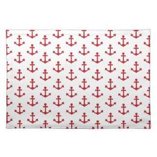 Anchors Pattern Nautical Burgundy Red White Cloth Place Mat