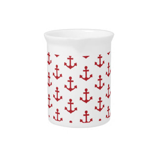 Anchors Pattern Nautical Burgundy Red White Drink Pitchers