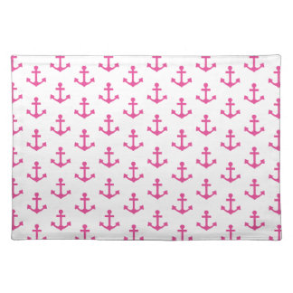 Anchors Pattern Nautical Hot Pink White Sailor Cloth Place Mat