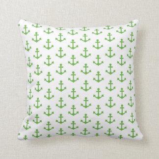 Anchors Pattern Nautical Lime Green White Sail Throw Pillow