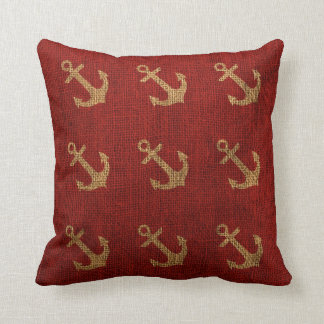 Anchors Rustic Red Throw Pillows