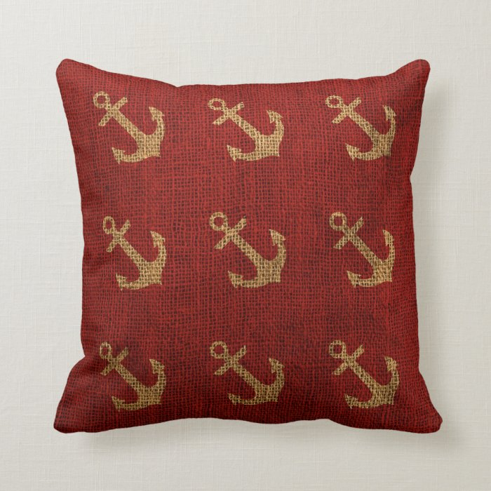 Throw Pillows Ross : Anchors Rustic Red Throw Pillow Zazzle