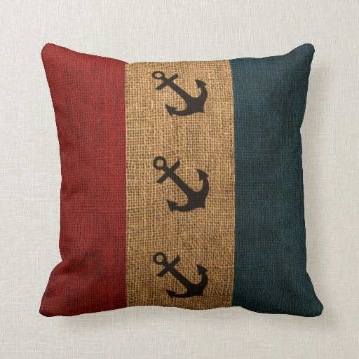 Anchors Rustic Stripes Throw Pillow Zazzle