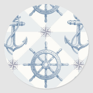 Anchors & Ship Wheel Pattern Classic Round Sticker