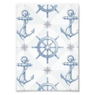 Anchors & Ship Wheel Pattern Photo Print