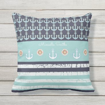 Beach Themed anchors & stripes nautical & personalized blue throw pillow