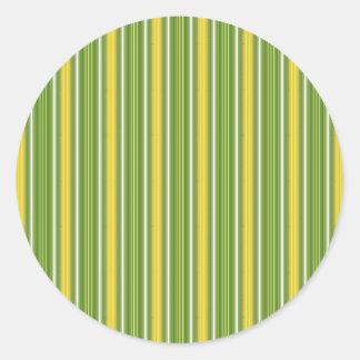 Anchuras multi verticales limón y cal de las rayas pegatina redonda