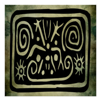 ancient african tribal symbols linocut poster