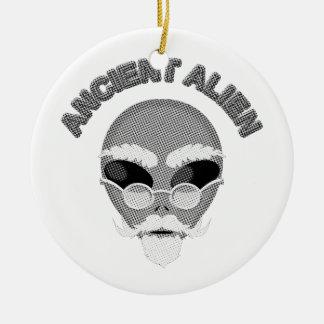 Ancient Alien Head Newsprint Ceramic Ornament