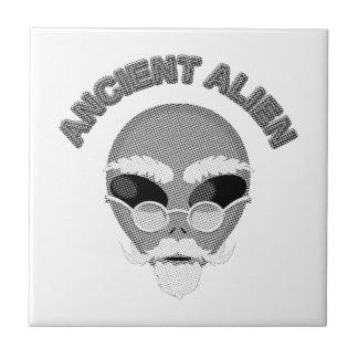 Ancient Alien Head Newsprint Ceramic Tile