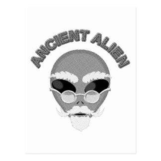 Ancient Alien Head Newsprint Postcard