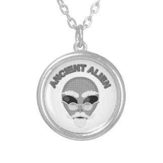 Ancient Alien Head Newsprint Silver Plated Necklace