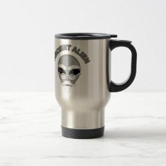 Ancient Alien Head Newsprint Travel Mug