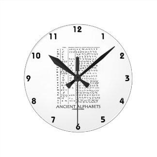 Ancient Alphabets Round Clock