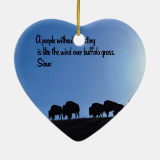 Ancient American Indian proverb Double-Sided Heart Ceramic Christmas Ornament