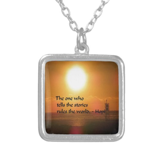 Ancient American Indian proverb Silver Plated Necklace