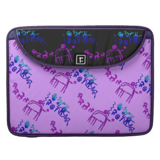 Ancient American Petroglyphs in Purple and Blue Sleeve For MacBook Pro