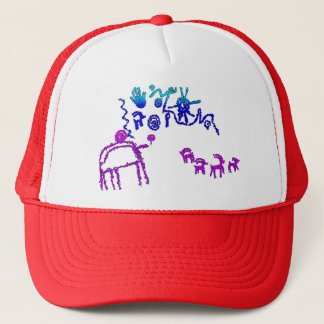 Ancient American Petroglyphs in Purple and Blue Trucker Hat