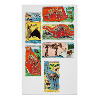 Ancient Animals Vintage Chocolate Cards - Poster