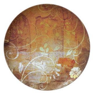 Ancient Antique Wallpaper Pattern Dark Eerie Desig Dinner Plate