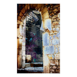 Ancient archway and stairs Print
