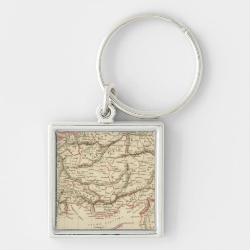 Ancient Asia Minor Silver-Colored Square Keychain