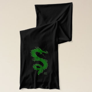 Ancient Asian Green Dragon Design Scarf