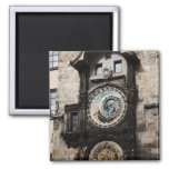Ancient Astrology Timepiece Clock in Prague Czech 2 Inch Square Magnet
