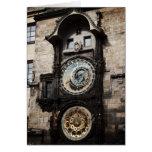 Ancient Astrology Timepiece Clock in Prague Czech Greeting Card